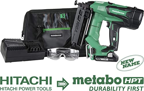 Metabo HPT Cordless Finish Nailer Kit Unique Air Spring Drive System 18V – 3.0 Ah Lithium Ion Battery Brushless Motor 16 Gauge Lifetime Tool Warranty NT1865DM