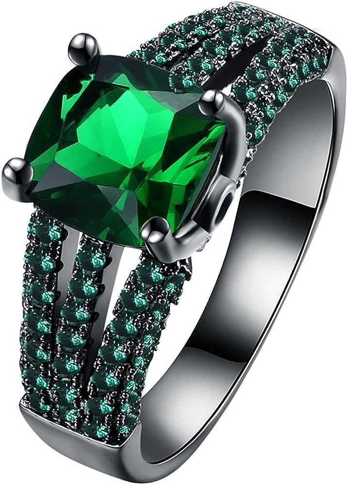 Wedding Gift,Green Emerald Faceted Gemstone Engagement Wedding Gold Ring Jewelry Stylish Rings Women Fashion Jewelry