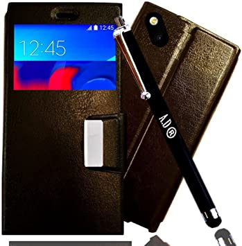 Access-Discount *** Pack Etui Housse WIKO Sunset 2 Coque Pochette de Protection a Rabat Flip Cover SVIEW en Cuir PU Noir Stylet pour Smartphone 4g ...