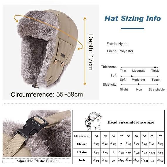 Amazon.com   Mens Womens Rabbit Fur Winter Hunting Waterproof Bomber  Trapper Flaps Cap Ushanka Russian Hat 24