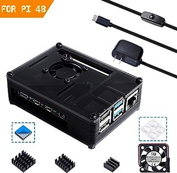 Para Raspberry Pi 3 b+ Caja de Grano de Madera + 5V 3A Cargador con Conector