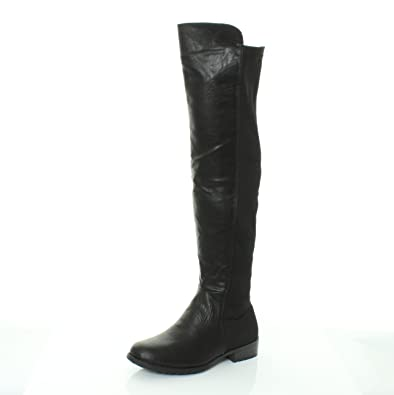 3f265a2542349 NEW HT45 LADIES WOMENS WIDE LEG CALF STRETCH OVER KNEE THIGH HIGH FLAT  BOOTS SHOES SIZE