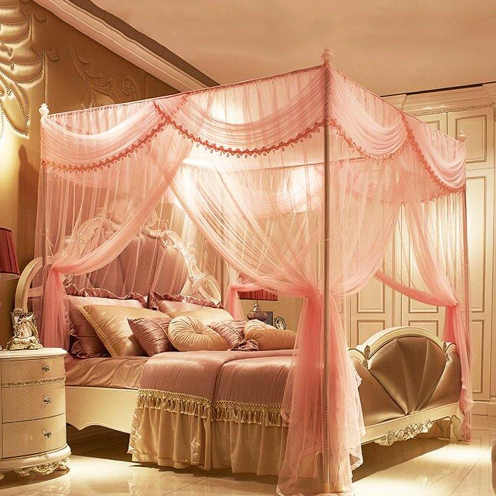 Moskitonetze MEIDUO 4 Arten von Farben doppelte Haushalts-Edelstahl-Halterung 1.5M (5 ft) Bett 1.8M (6 ft) Bett