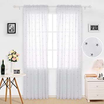 Deconovo Sheer White Curtains Little Star Embroideried Rod Pocket Window Curtain 52x84 Inch