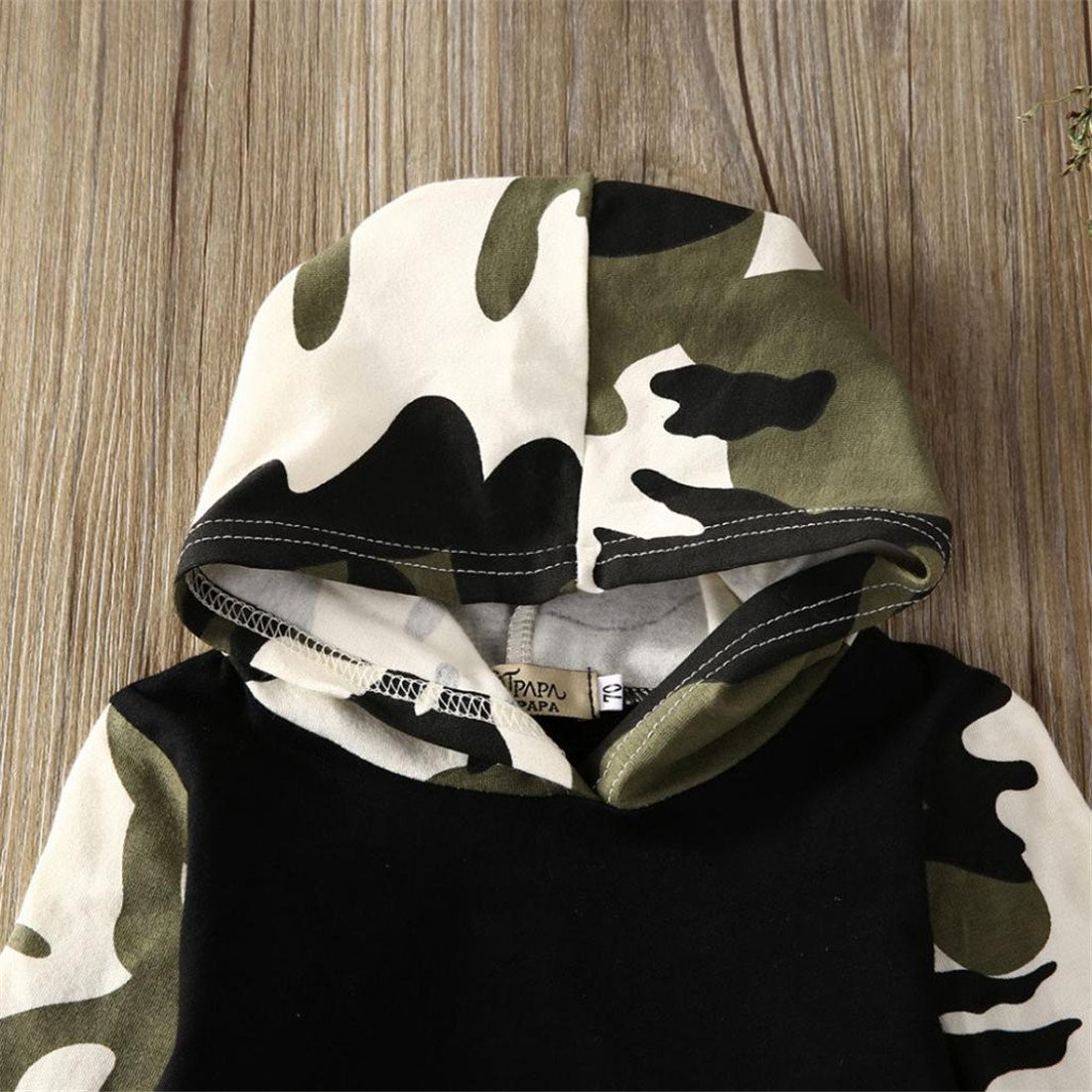 Pullover Set Kleinkind Btruely Unisex Langarm Baby Clothes Set Camouflage Spielanzug 60, Camouflage 1 Hosen Kappe Outfits Kinder