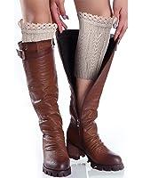 Avidlove Women Socks Knit Crochet Boot Cuffs Hollow Out Leg Warmers with Lace Trim