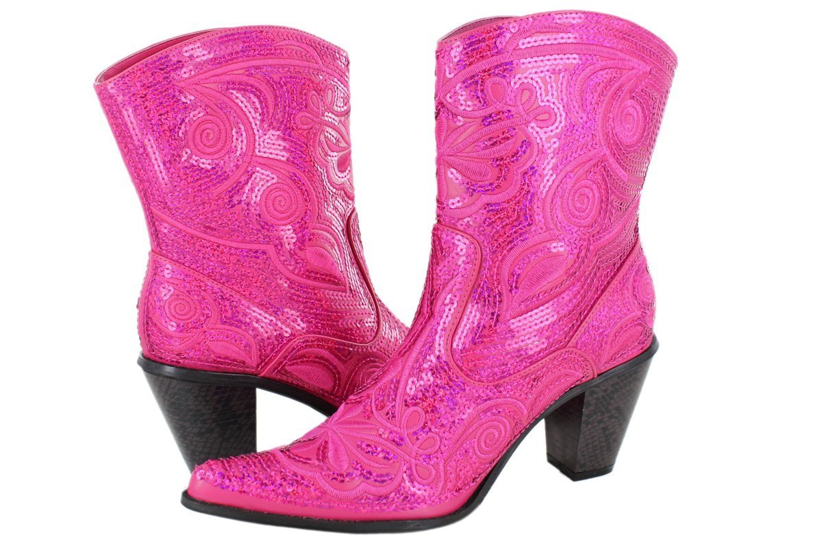 Helens Heart Women's Sparkle Sequin Bling Short Western Cowgirl Boots B00B04OZXS 8 B(M) US|Fuchsia