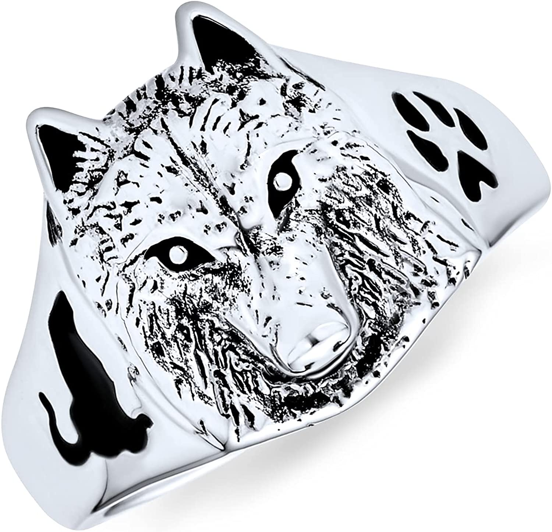 Hunter Animal Paw Print Wolf Signet Women For Ring Daily bargain sale Oxidi free Men