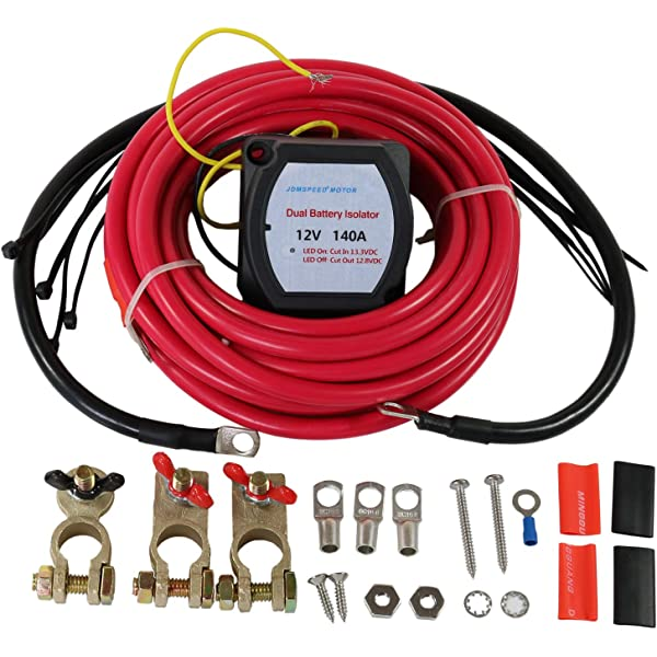 Dual//Auxiliary Battery Charge Isolator Wiring Kit w// 4 Gauge CCA Cable Isolation Relay Ring Terminal Fuse Holder for Off Road Automotive ATU RV RZR UTV GS Power 80 Amp Constant 150 A Surge