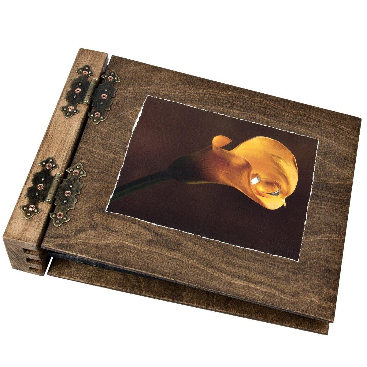 75 hojas por ambos lados de (álbum de fotos de lados madera plegable Calla alianzas boda álbum c08c57