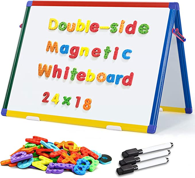 Two Color Markers and Paper Clip 12x16 Tabletop Easel Whiteboard IbexStationers Small Dry Erase Board for Home Learning Double Sided Magnetic White Board with Two Magnets