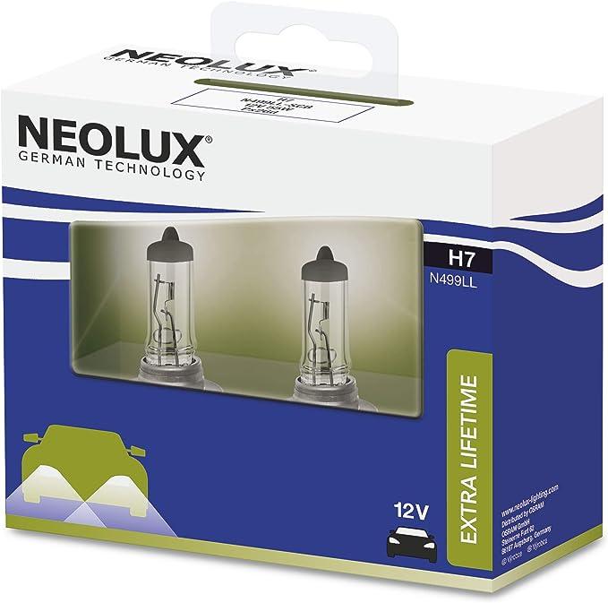 NEOLUX Extra Lifetime H7, faro halógeno, N499LL-2SCB, 12 V, 55 W, caja de cubierta suave (2 bombillas): Amazon.es: Coche y moto