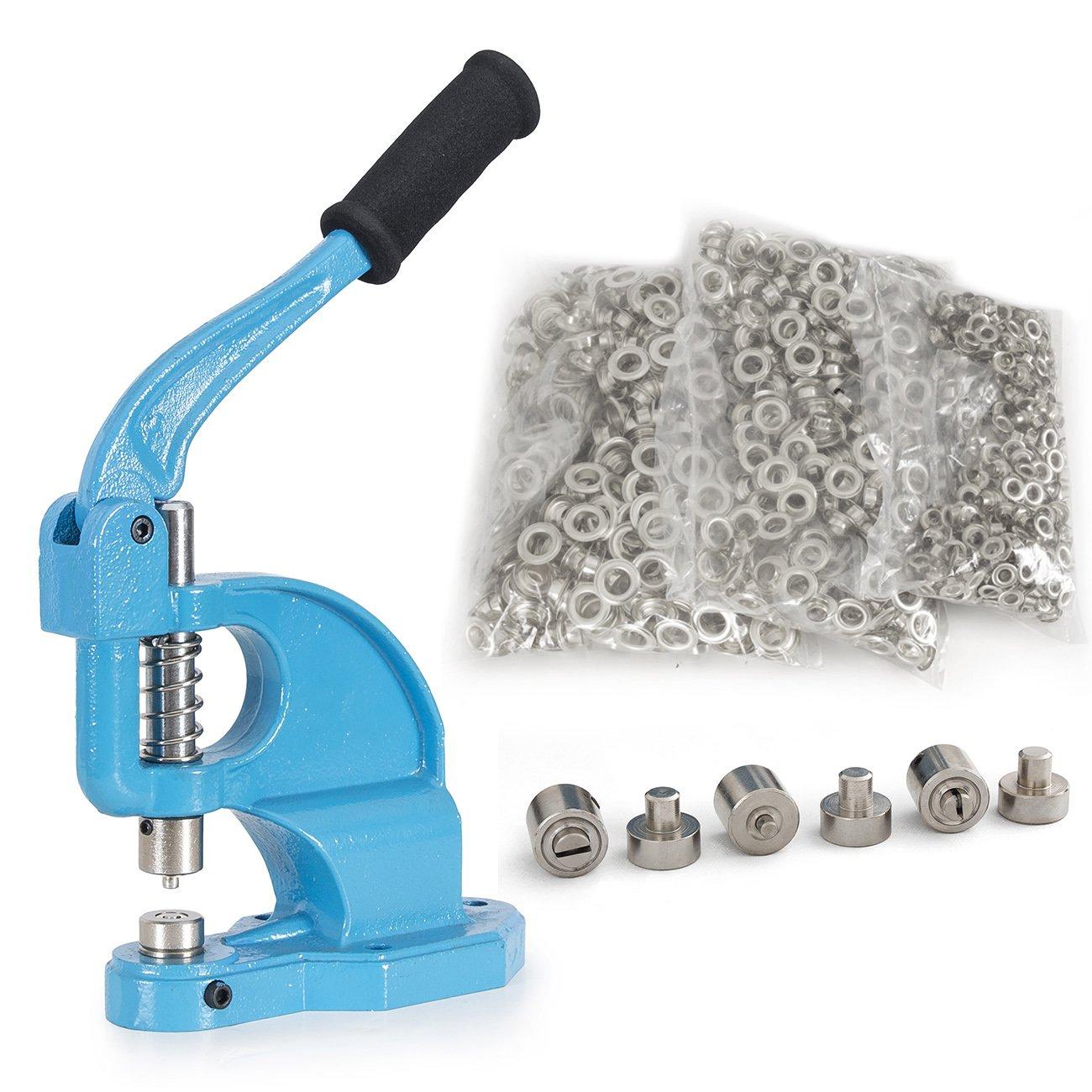 ARKSEN Eyelet Maker Hand Press Grommet Machine w/ 1500PC Set Grommets 3 Die #0 #2 #4, Blue