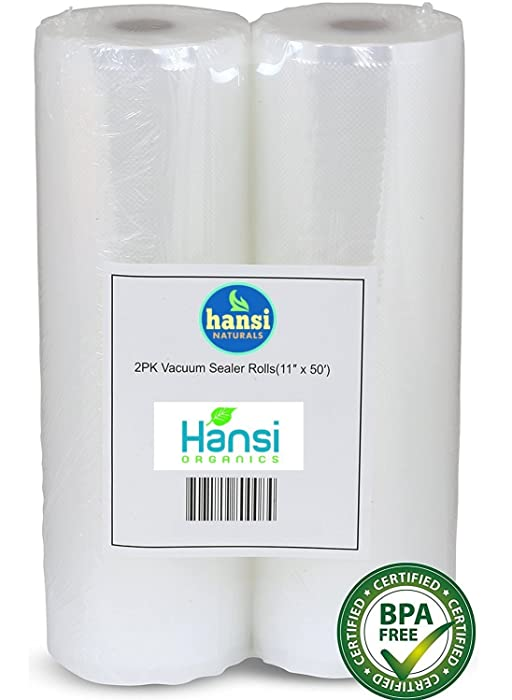 """Hansi Naturals 2 Pack 11"""" x 50' and 8"""" x 50' BPA Free Commercial Quality Vacuum Sealer Saver Rolls Storage for Freezing Food"""