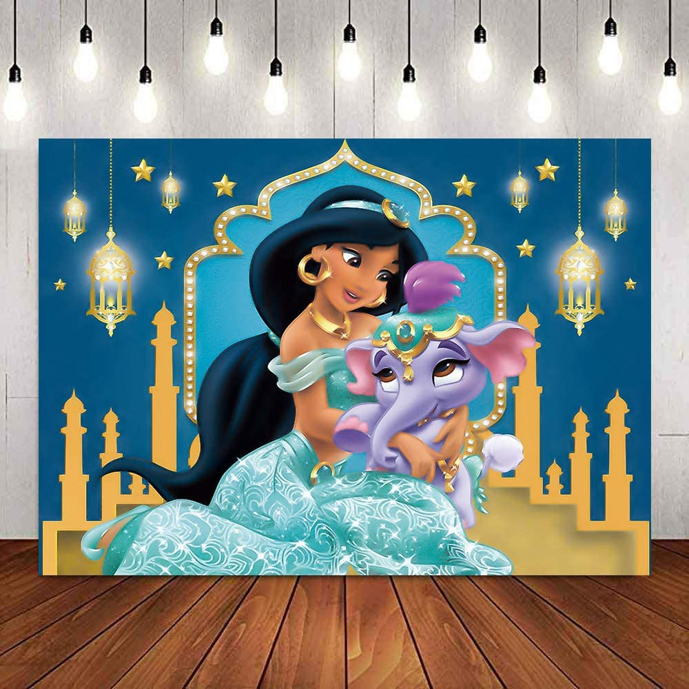 Cartoon Aladdin Castle Jasmine Princess Theme Backdrops Kids Gils Birthday Party Photography Banner Baby Shower Step and Repeat Background Photo Studio Props Cake Table Decor 7x5ft