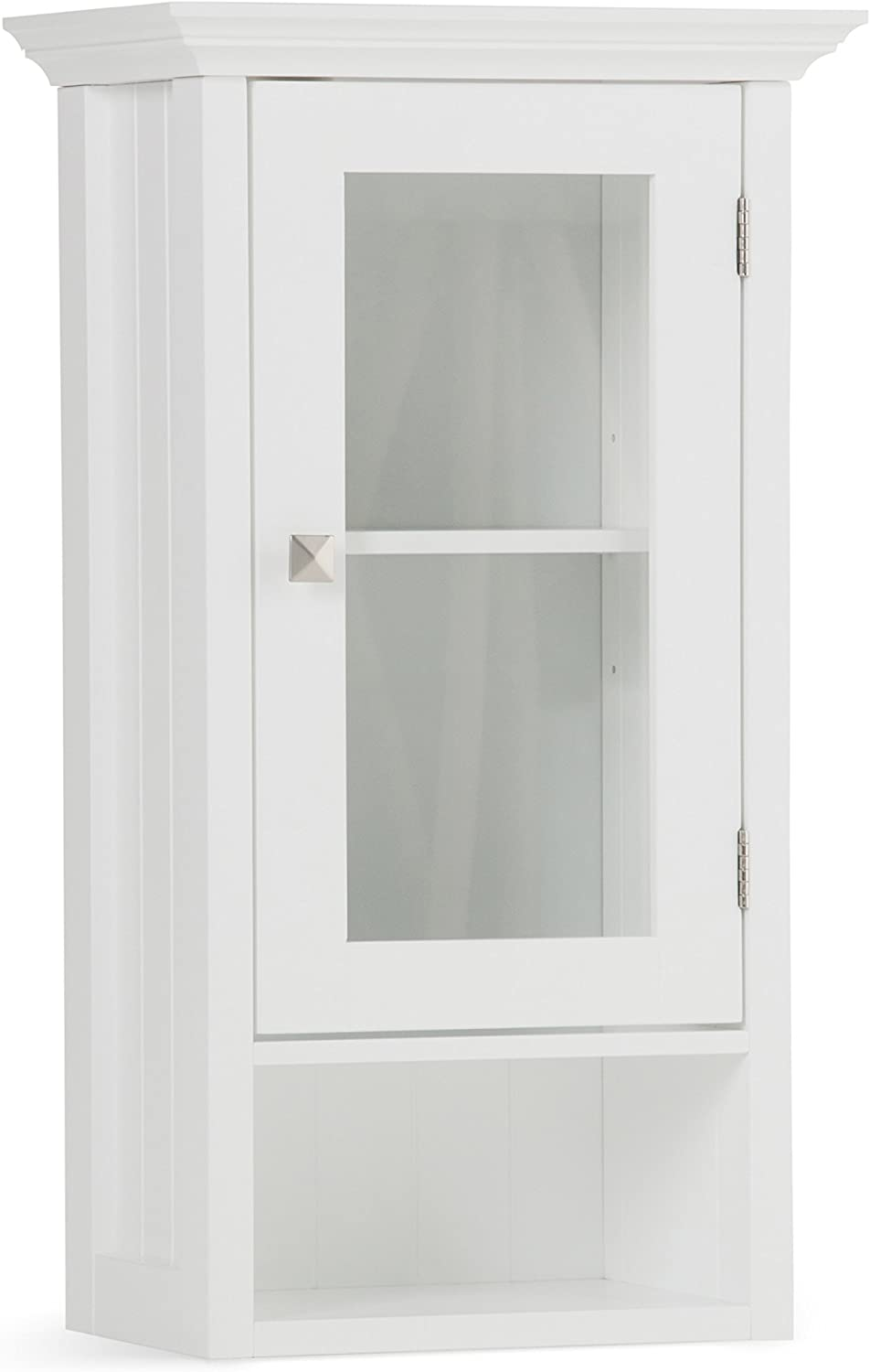 SIMPLIHOME Acadian 28 inch H x 15.75 inch W Single Door Wall Bath Cabinet in Pure White