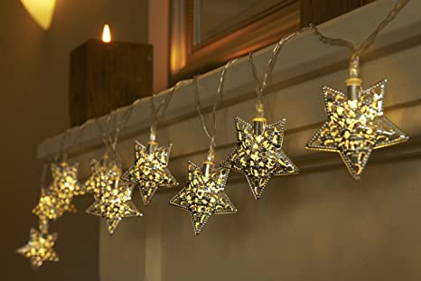 Decorazioni Luminose Per Interni : Anokay catena luminosa con 10 led stella di metallo stringa di