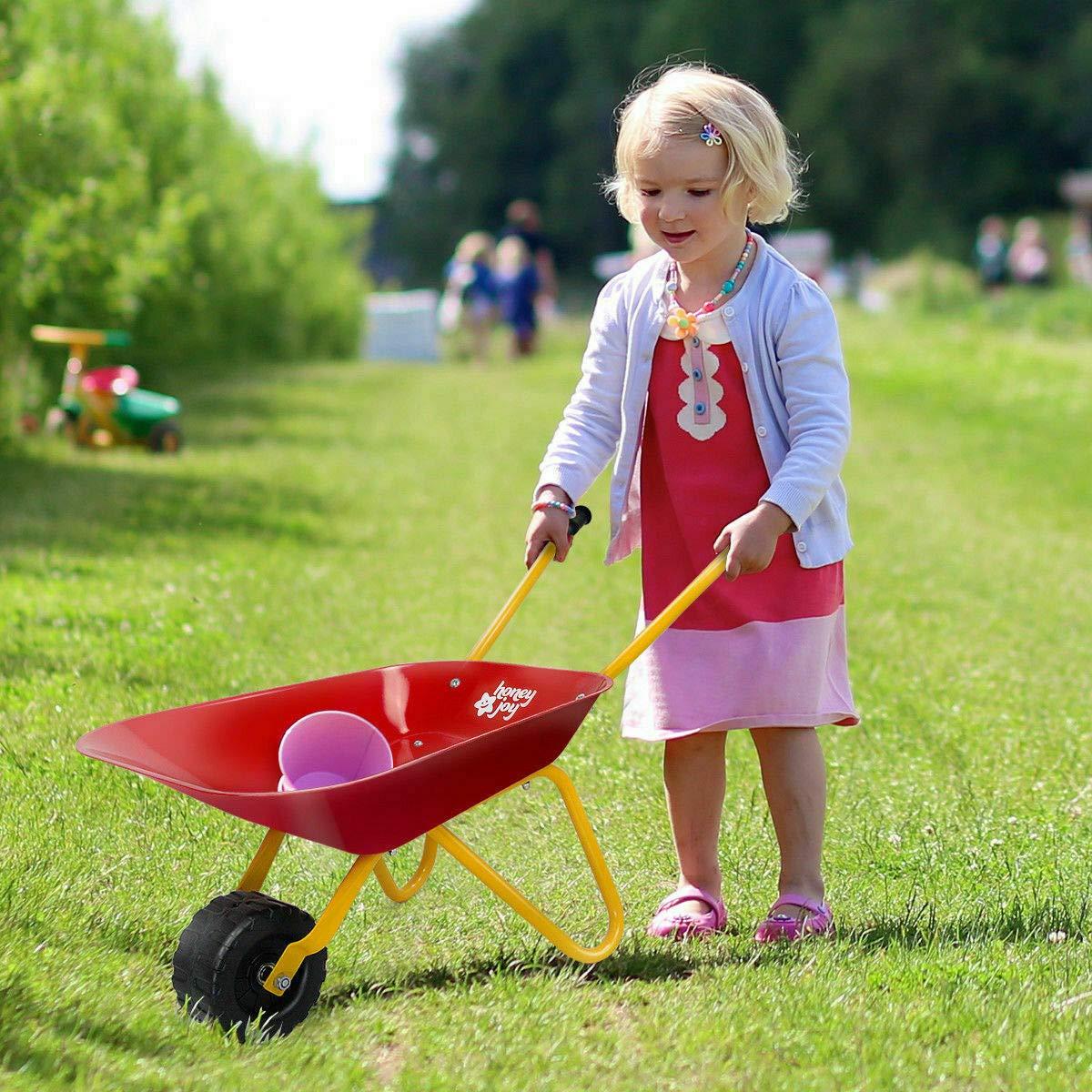 Heize best price Red Kids Metal Wheelbarrow Children's Size Outdoor Garden Backyard Play Toy by Heize best price (Image #2)