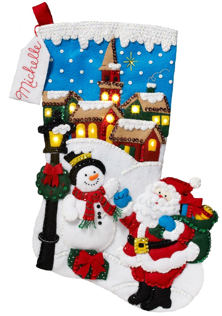 Bucilla 18-Inch Christmas Stocking Felt Appliqué Kit, 86818 Christmas Village Plaid Enterprises 4336935240