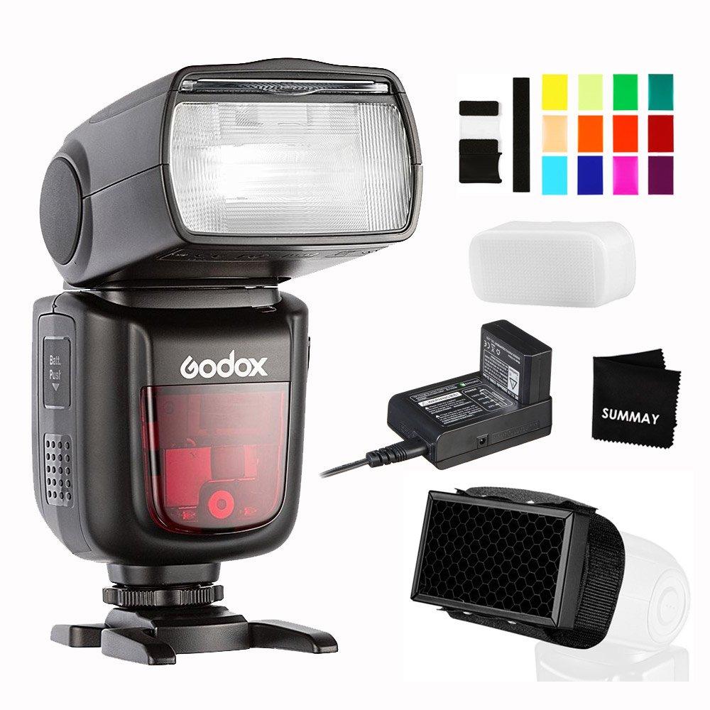 Godox V860II-F TTLカメラフラッシュGN60高速同期1/8000秒1.5秒リサイクル時間650フルパワー2000mAh充電式バッテリーフラッシュスピードライトfor富士富士フィルムX-T2 X-A5 X-S1 X-E3 X-T100   B07DRB1ST2