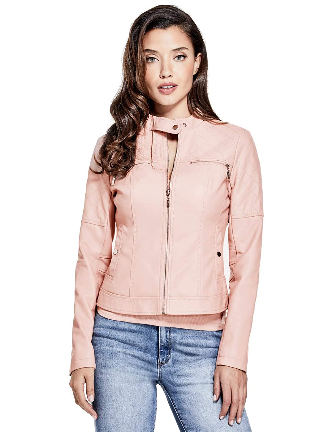 Guess Factory Women's Giardini Quilted Faux-Leather Jacket GuessFactory