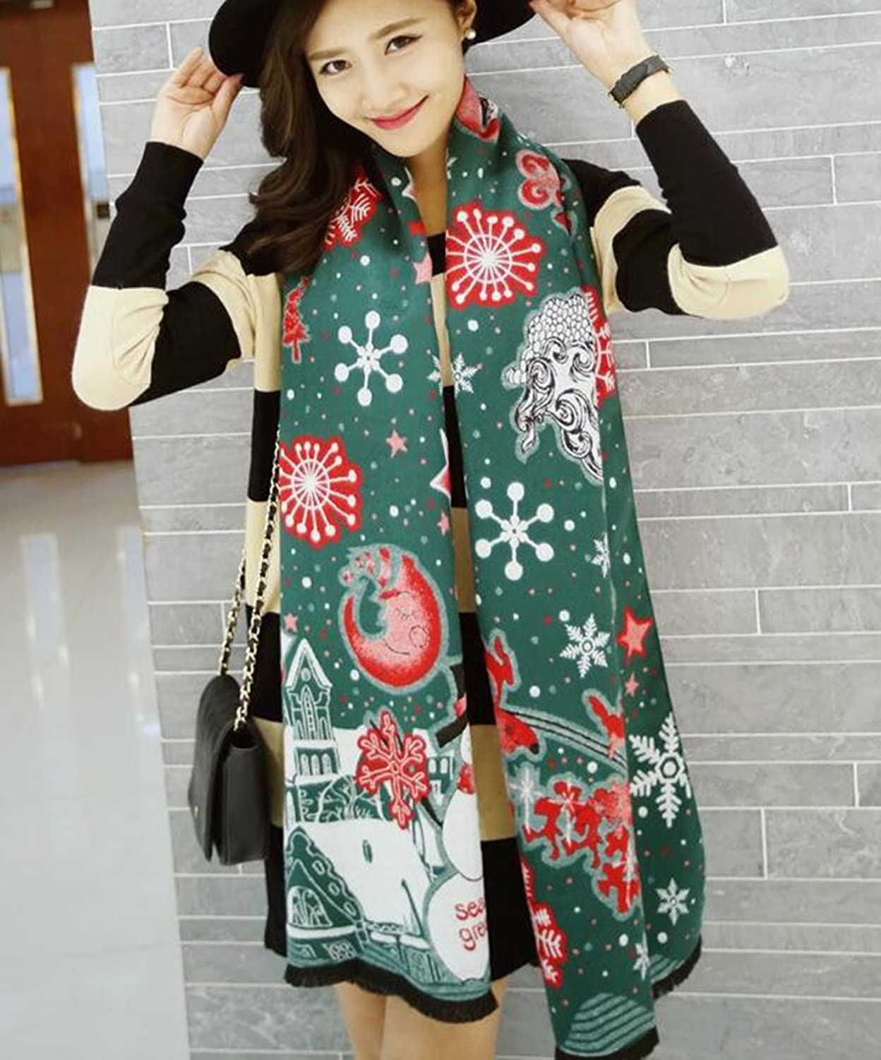 Freedi Cashmere Women Christmas Scarf Snowflake Scarf for Ladies Girls Christmas Gift