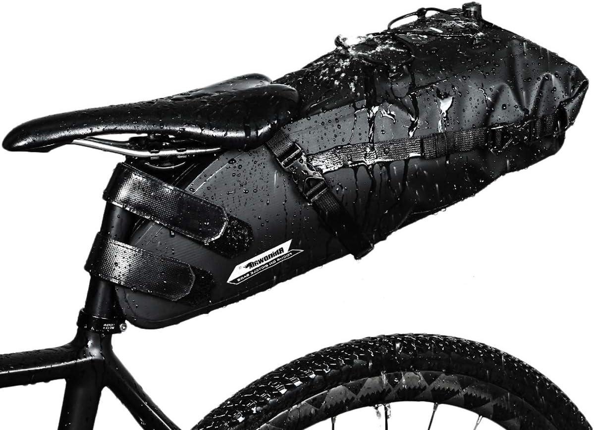 Selighting Impermeable Bicicleta Alforja Asiento Trasero Carrier Bolsas de Sillín Alforjas de Ciclismo (Negro-Nuevo, 10L)