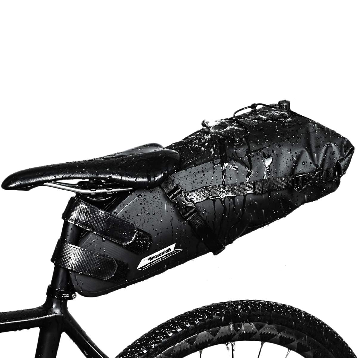 CamGo Bike Saddle Bag 10L – Waterproof Cycling Tail Bag Strap-on Bike Under Seat Bag for Mountain Road MTB Bike