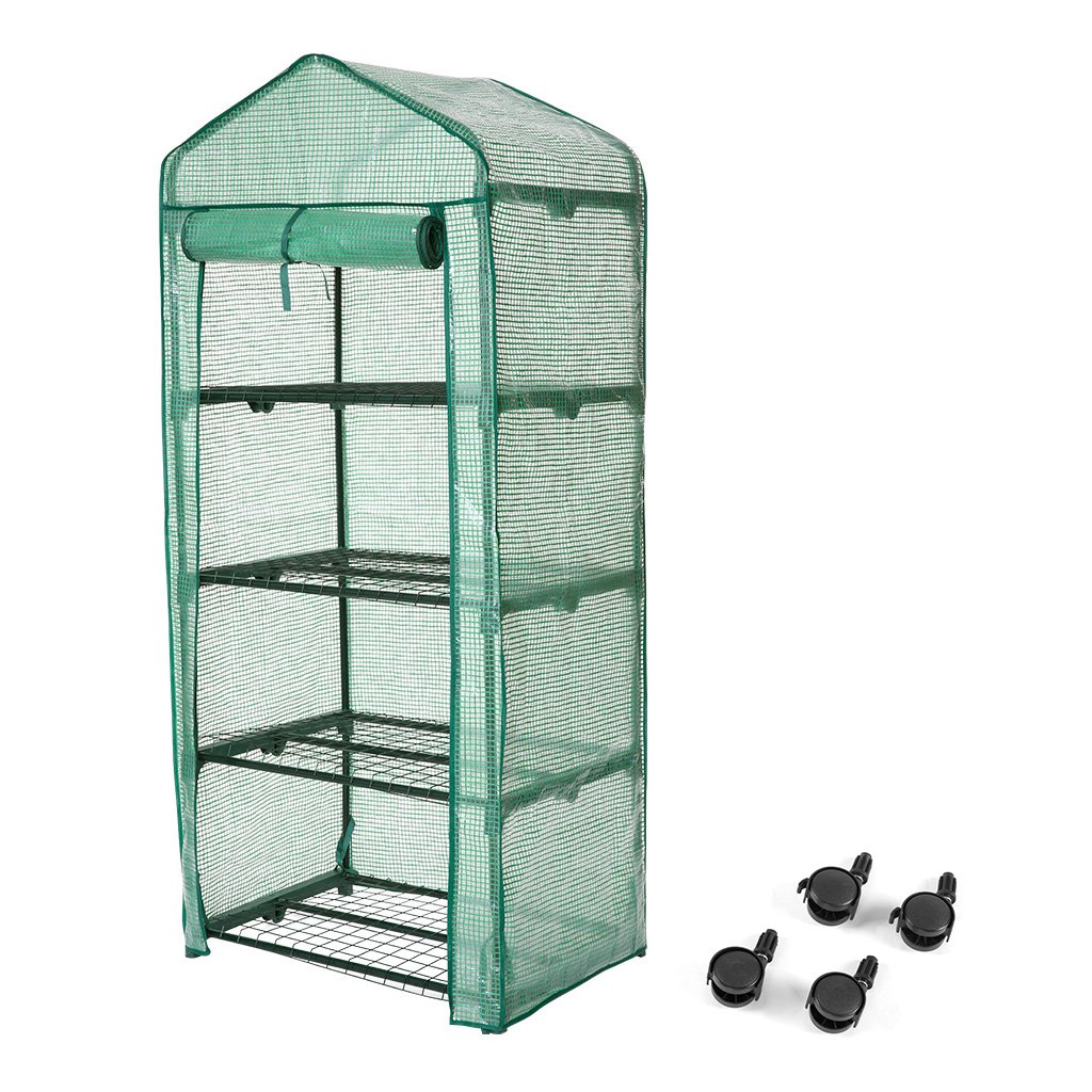 Finether 4-Tier Greenhouse, 27 Wx19 Dx62 H Portable Garden House with Wheels for Indoor Outdoor Plants