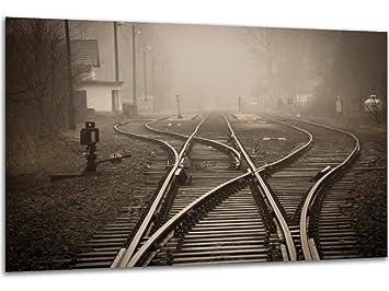Bahnschienen Zug   Wandbild Eisenbahn Gleise, Exklusiver Druck Auf  Leinwand, Alu Dibond Oder