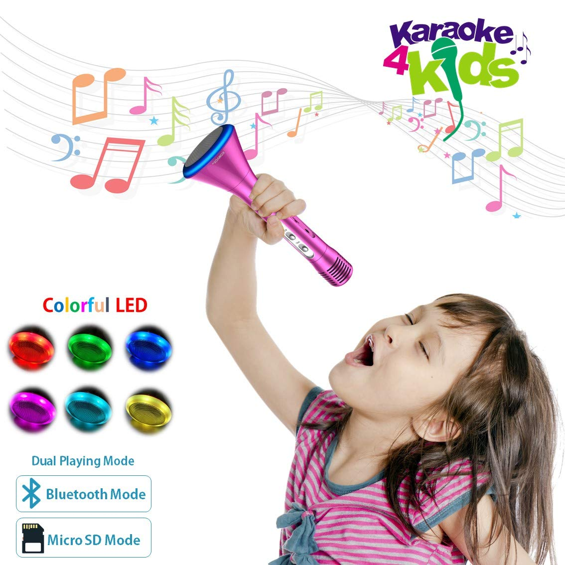 KOMVOX Karaoke Microphone For Kids Girls Toddlers Best Top Toys, Bluetooth Handheld Singing Machine for Little Girls Gifts 4 5 6 Years Old, Creative Girls Gift For Birthday Party