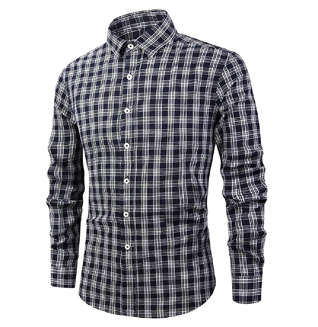 YUNY Men Hipster Relaxed Fit Long Sleeve Buttoned Formal No-Iron Shirt AS4 M