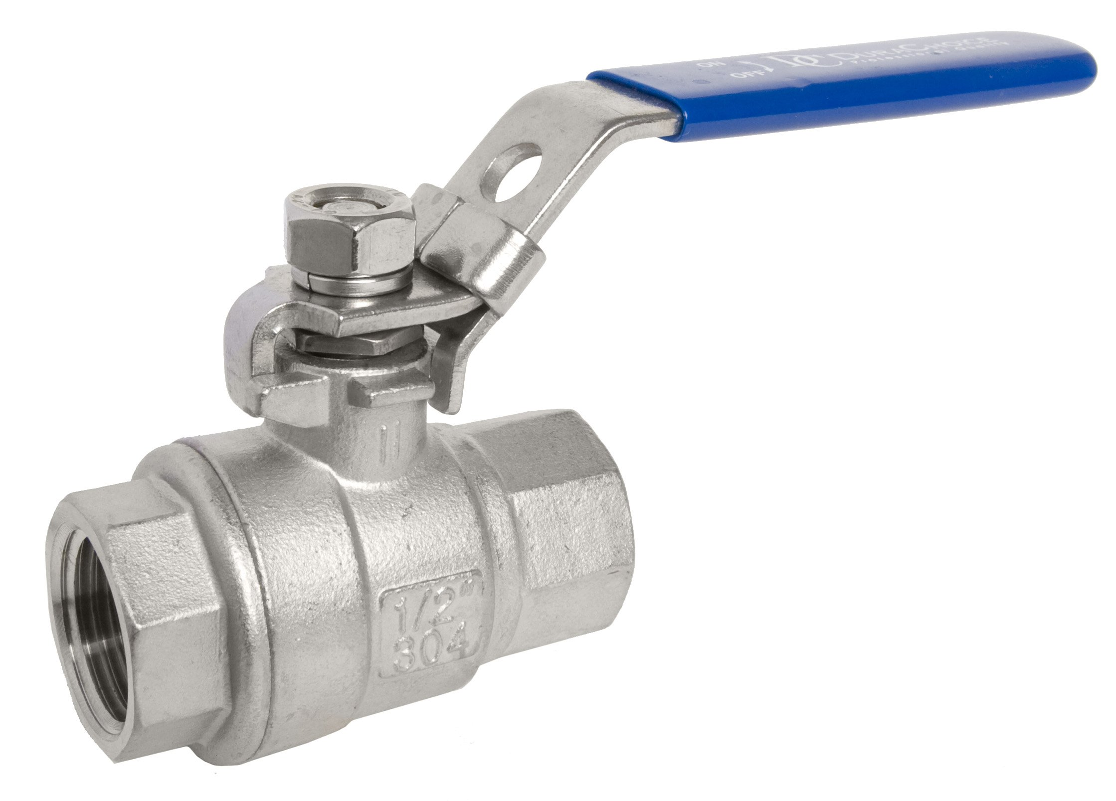 1/2'' DuraChoice SS 304 Stainless Steel Ball Valve - Full Port, 1000 WOG for Water, Oil, and Gas with Blue Locking Handles, NPT Connection