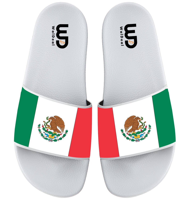 Mexican Flag Summer Non-slip Slide Sandals Home Shoes Beach Swim Flip Flops Indoor and Outdoor Slipper Women Men B075FL6S2S 6 B(M) US|Mexican Flag