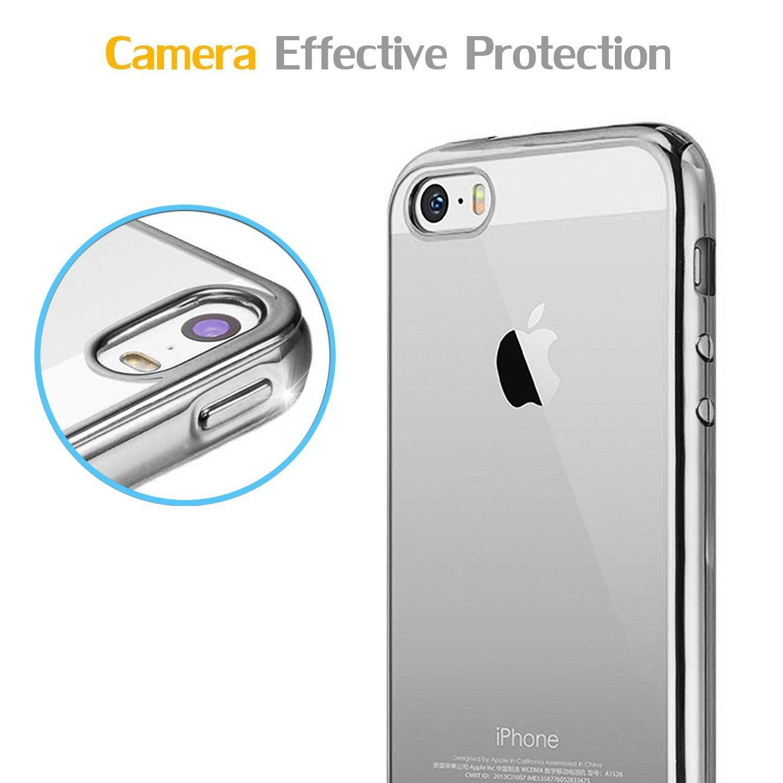 WELKOO Funda para iPhone 7 // iPhone 8 Azul Funda Transparente Cristal Silicona Suave Delgado Flexible TPU con Parachoques de Efecto Met/álico Custodia para iPhone 7 and 8