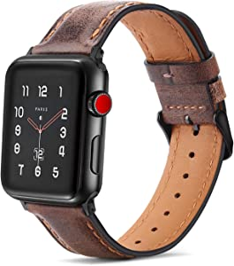 Tasikar Bands Compatible with Apple Watch Band 44mm 42mm Premium Genuine Leather Replacement Band for Apple Watch SE Series 6 5 4 (44mm) Series 3 2 1 (42mm) - Dark Brown