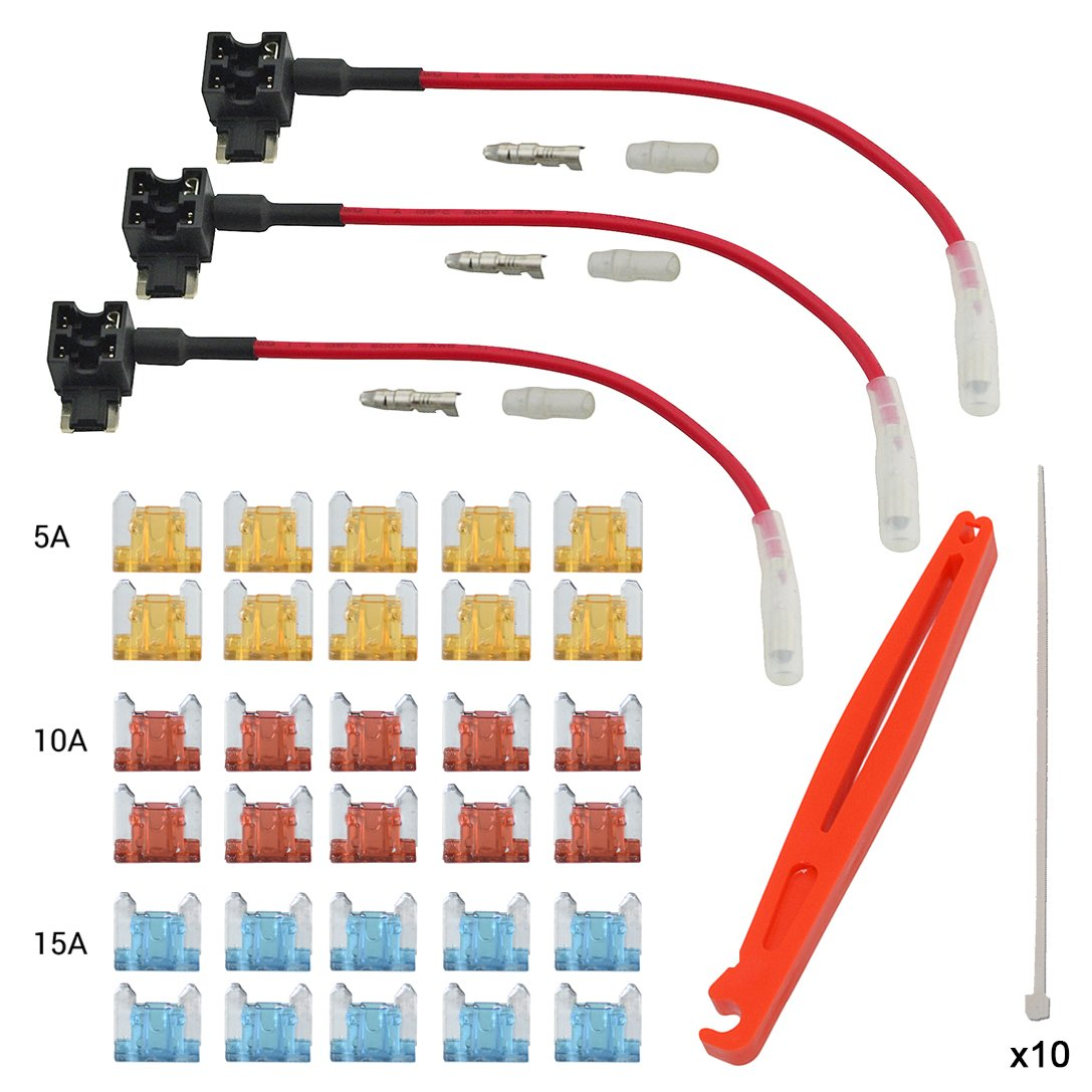FOSHIO Voiture 12V / 24V Ajouter un détenteur de fusible de circuit Adaptateur TAP avec micro-fusible à double profil avec micro fusible Inclut 5A 10A 15A Fusible et faisceau de câbles différents FC51T3-FBA