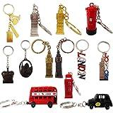 10 x British Key Tags Mini London GB Icon Keyrings Brelock Gift Souvenir England Union Jack Key Chains by Grids