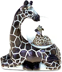 Puzzled Resin Stone Giraffe Snow Globe (45mm), 3.9 Inch Tall Figurine Intricate & Meticulous Detailing Art Handcrafted Tabletop Accent Sculpture Centerpiece Mountain Wildlife Themed Home Décor
