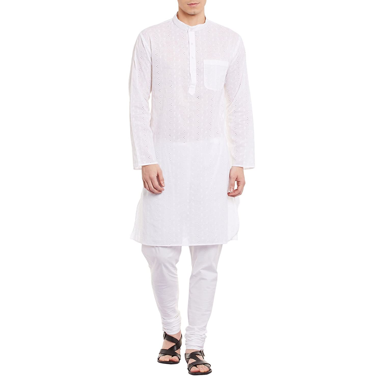 Mens Embroidered Cotton Kurta Size-(40, 42, 44, 46, 48, 50, 52 & 54 in) 42 44 46 48
