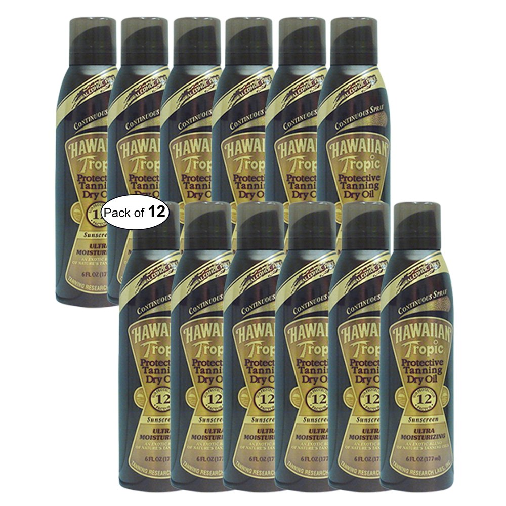 Hawaiian Tropic Protective Tanning Dry Oil Spray (177ml) (Pack of 12)