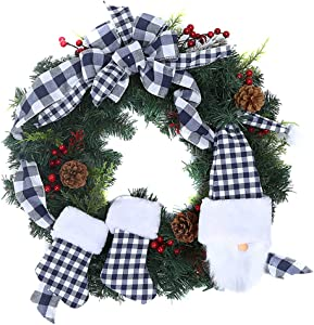 FLASH WORLD Gnome Christmas Wreath, 24 inch Christmas Garland Wreaths with Pine Cones,Plaid Bows,Red Berry,Christmas Socks,Xmas Wreaths for Front Door, Farmhouse Decoration (Blue&White)