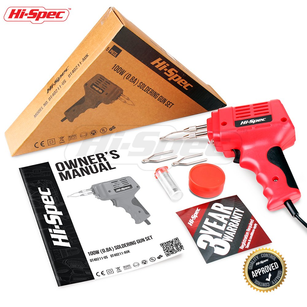 Hi-Spec 100 W 0.8A Heavy Duty Soldering Gun Set with 900°F Max Temp Great for Plumbing, Electronics, Circuit Boards, Crafting, Automotive, Metalwork & Industrial Applications Soldering Gun Kit by Hi-Spec (Image #6)