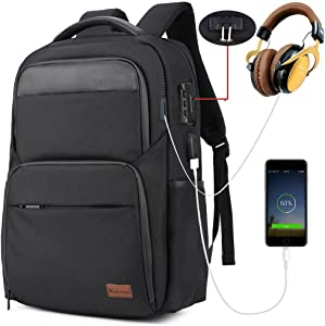 Anti Theft Business Laptop Backpack, with USB Charging Port Shockproof Water Resistant Casual College Travel Backpack School Backpack for Women/Men, Big Student Backpack,Fit 15.6 Inch Laptop