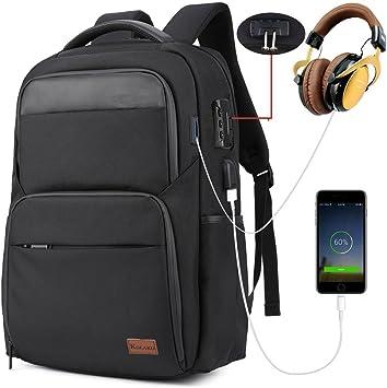 Mens Anti-theft Lock Smart Backpack School Casual Camping Bag USB Charging Port
