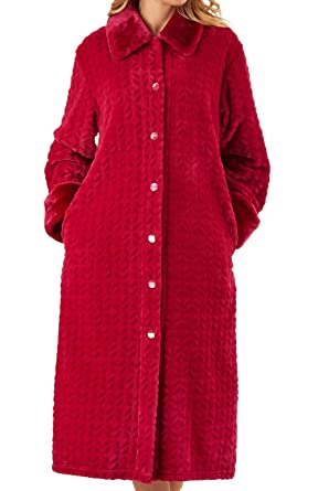 Slenderella Ladies Faux Fur Collar Dressing Gown Womens Super Soft Fleece  Bathrobe Small (Raspberry) fe113f8b0