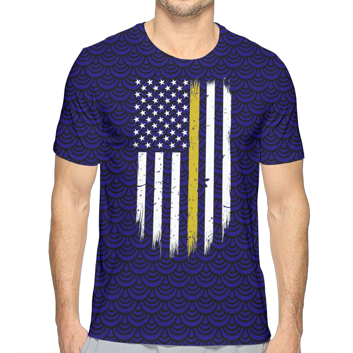 JJKKFG-H 911 Dispatcher Thin Gold Line Mens Cool Short Sleeve Tshirt