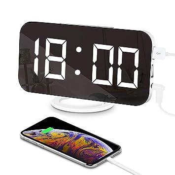 """LED Reloj Despertador Espejo Digital Electrónico 6.5""""Horlogue Modo de atenuación Espejo de Superficie 3"""
