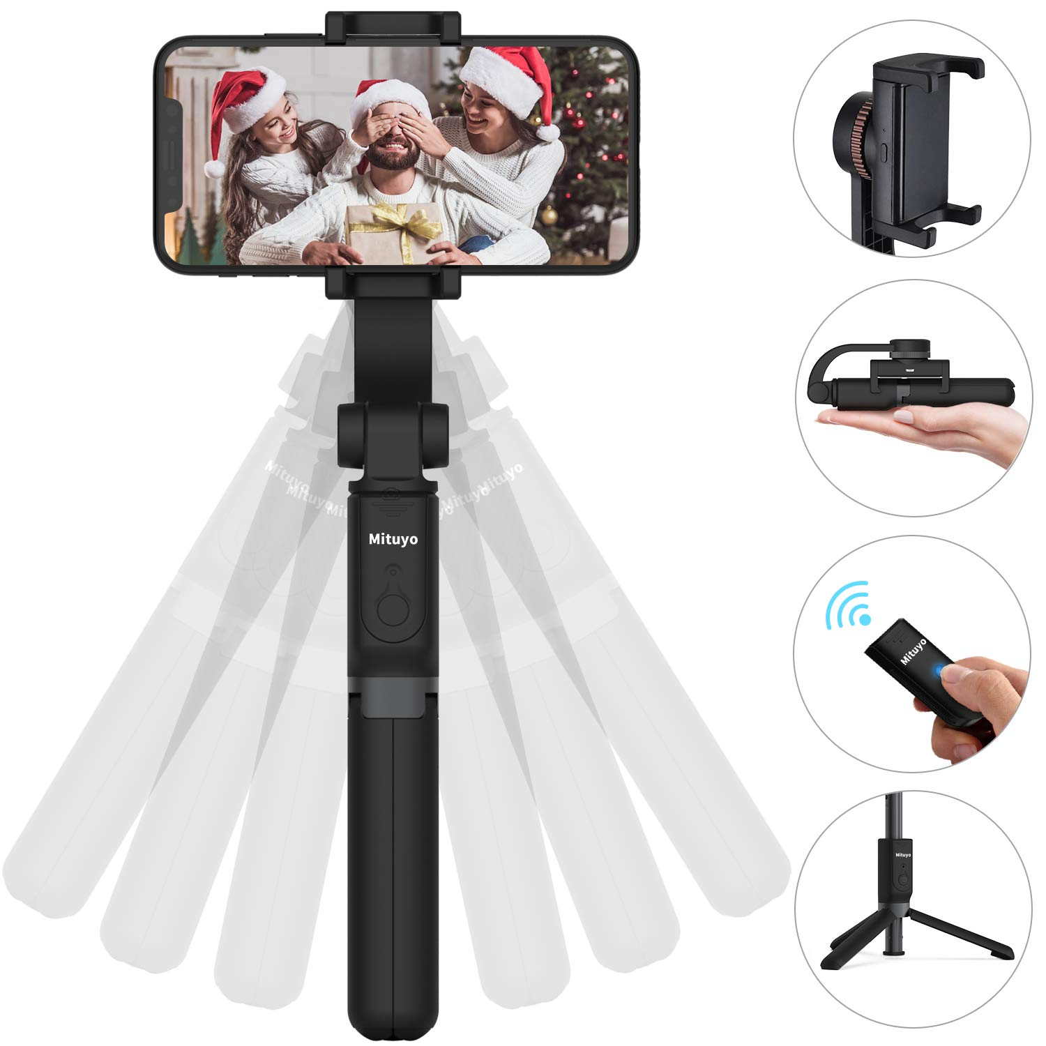 Bluetooth PRO Selfie Stick Tripod Stabilizer with Extension and Wireless Remote Shutter Compatible with iPhone, Samsung, Huawei, Other Smartphones by Mituyu