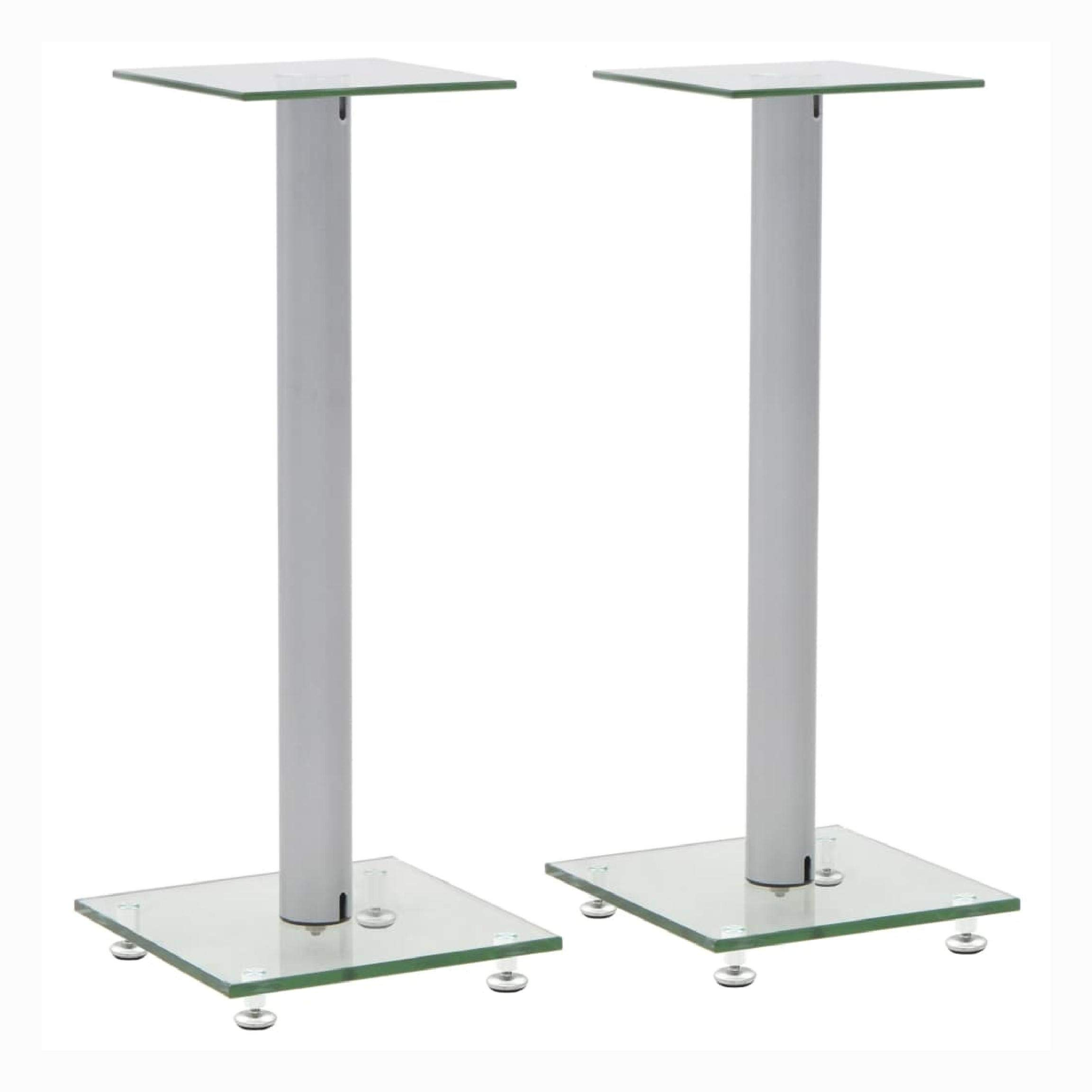 HomyDelight Speaker Stand & Mount, Speaker Stands 2 pcs Tempered Glass 1 Pillar Design Silver by HomyDelight